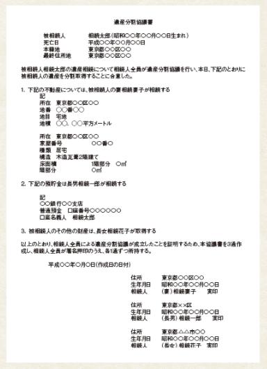 遺産分割協議書サンプル